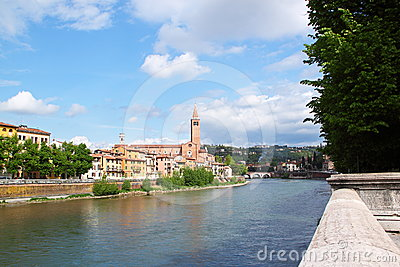 Verona along the river Adige, Italy