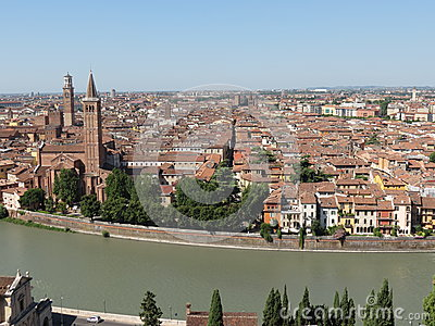 Verona city centre and river