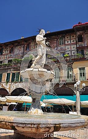 Verona, Italy. Piazza delle Erbe square.