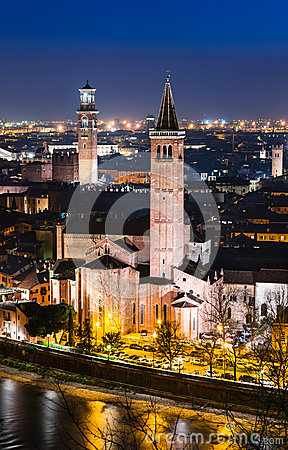 Verona skyline, night. Italy