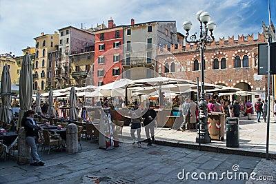 Verona,square of grass Editorial Image
