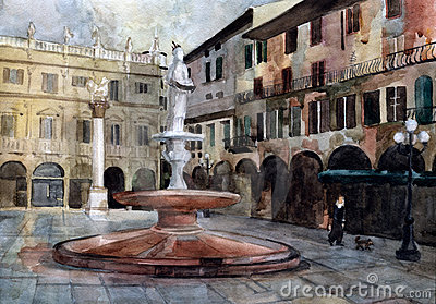 Verona square. Watercolor.