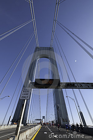 Verrazano Bridge Sign - Good Luck Athletes Editorial Photography