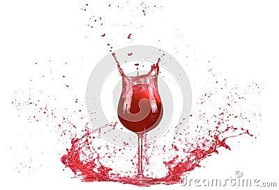 verre avec le vin rouge claboussure de vin rouge vin versant sur la table d 39 isolement sur le. Black Bedroom Furniture Sets. Home Design Ideas