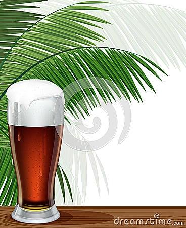 Verre de branches de bière et de paume