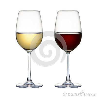 verre de vin rouge et verre de vin blanc d 39 isolement sur un fond blanc photo stock image 46188393. Black Bedroom Furniture Sets. Home Design Ideas