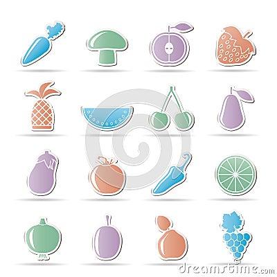 Verschiedene arten von obst und gemüse von ikonen ikonenset