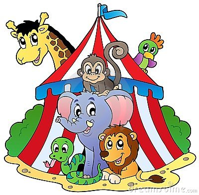 Verschiedene Tiere im Zirkuszelt