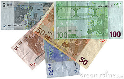 Verschillende kleurrijke geïsoleerdee euro, besparingenrijkdom