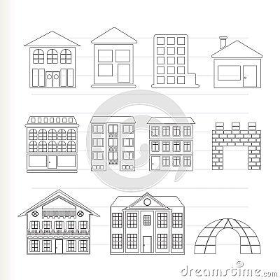 Verschillende soorten huizen en gebouwen