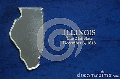 Versilbern Sie Karte von Illinois
