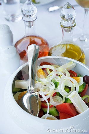 Version Of Greek Salad (with Eggs) Stock Photo - Image: 28397890