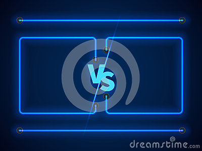 Versus Screen With Blue Neon Frames And Vs Letters Stock