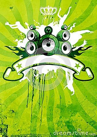 Vert et affiche de limette rétro