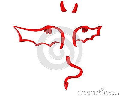 Vertegenwoordiging van duivelsvleugels en hoornen