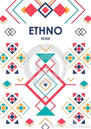 Vertical background with geometric ethnic ornament. ethno abstract poster template with place for text Vector Illustration