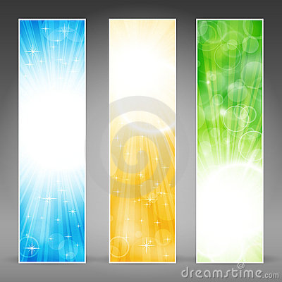 Free Vertical Banner Set With Light Bursts Stock Image - 22107241