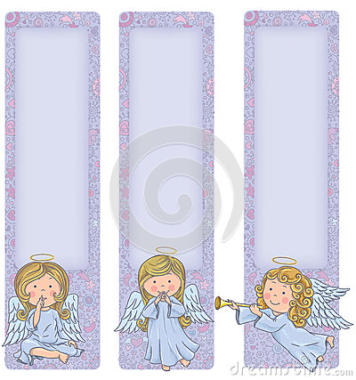 Free Vertical Banner With Cute Angels Stock Photography - 36817702