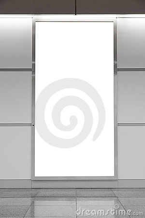 Vertical blank billboard on wall