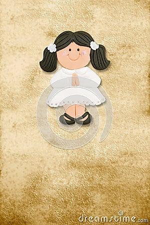Vertical card first communion, funny brunette girl