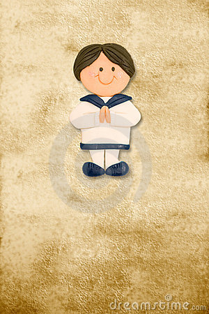 Vertical card first communion funny sailor boy
