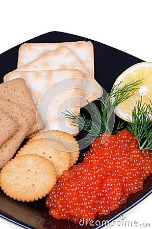 Caviar meal closeup