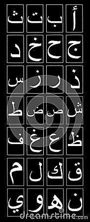 Vertical do alfabeto árabe no preto