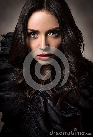 Free Vertical Fashion Portrait In Dark Tones. Beautiful Young Woman In Black Royalty Free Stock Images - 110385009