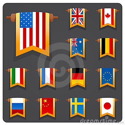 Vertical flags main coutries
