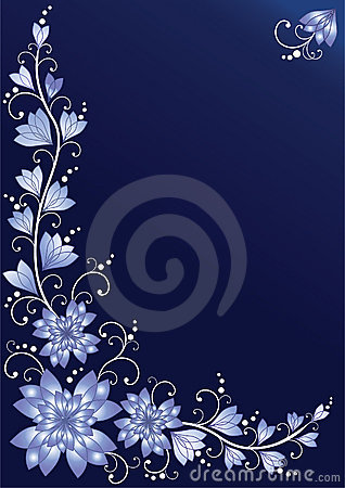Vertical floral background. Blue