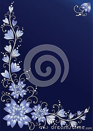 Vertical floral background. Blue