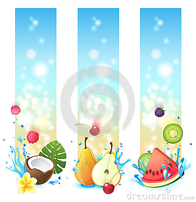 3 vertical fruits banners