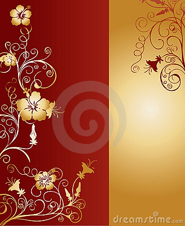 Vertical Gold and Red Pattern Vector Illustration