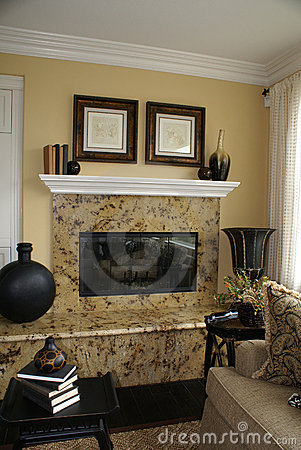Vertical Granite Fireplace 2