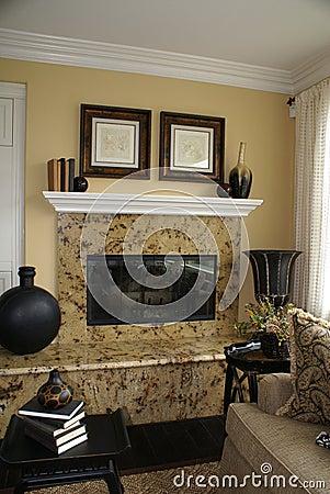 Vertical Granite Fireplace 2