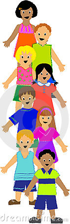 Vertical Group of Children