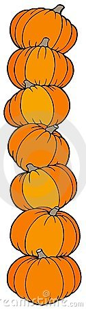 Vertical line of pumpkins