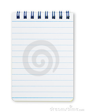 Vertical notebook with blue spiral and lines.