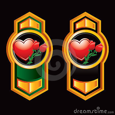 Vertical orange arrow banners with heart and roses