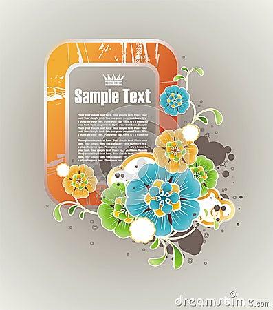 Vertical orange floral frame