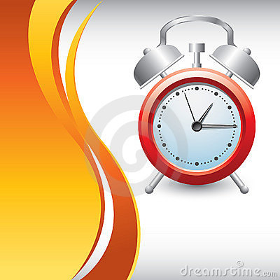 Vertical orange wave backdrop with alarm clock