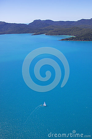 Free Vertical Panorama Aerial Of Sailing Boat In Whitsu Royalty Free Stock Photos - 30532798
