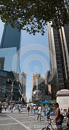 Vertical panorama of Columbus Circle Editorial Photo