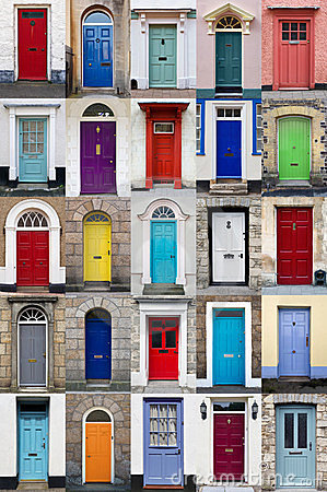 Vertical photo collage of 25 front doors