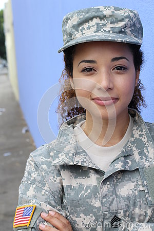 Free Vertical Portrait Of A Military Ethnic Army Woman Stock Image - 75779671