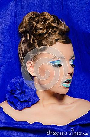 Vertical portrait of woman in blue