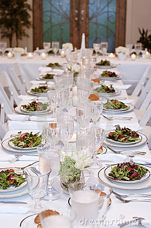 Vertical: Salads Served on White Table Cloth for Wedding Reception