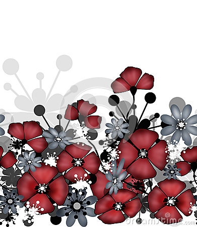 Vertical seamless pattern of red poppies and flowers