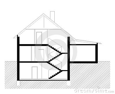 Vertical section of family house