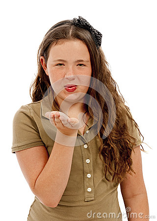Girl Blowing Kiss Facing Camera Isolated
